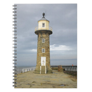 Whitby lighthouse spiral notebook