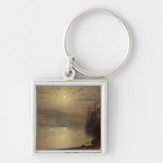 Whitby (oil on canvas) Silver-Colored square keychain