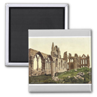 Whitby, the abbey, I., Yorkshire, England rare Pho 2 Inch Square Magnet