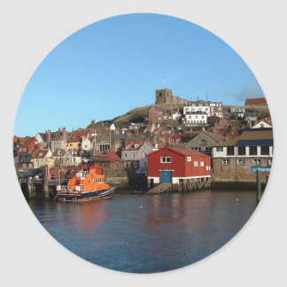 Whitby with old Lifeboat house Round Sticker