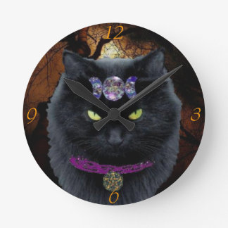 Whitchy Black Cat Round Wall Clock