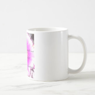 white 11 ounce coffee mug, pink flower with script