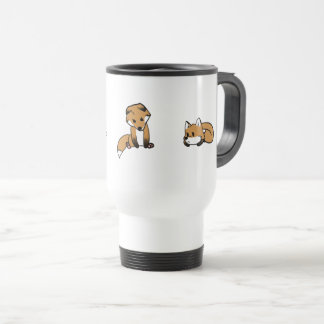 White 11 oz Classic Mug with trhee foxes