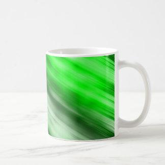 White 11oz Classic Mug, abstract art, green. Coffee Mug