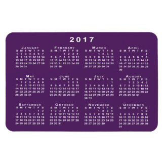 White 2017 Calendar, Purple Background Template Magnet