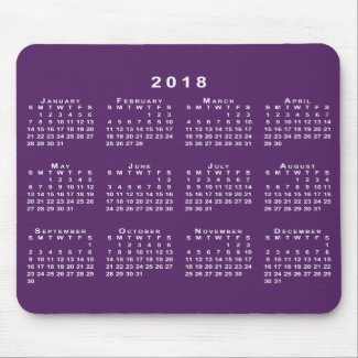 White 2018 Calendar on Custom Purple Mousepad