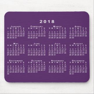 White 2018 Calendar on Custom Purple Mousepad