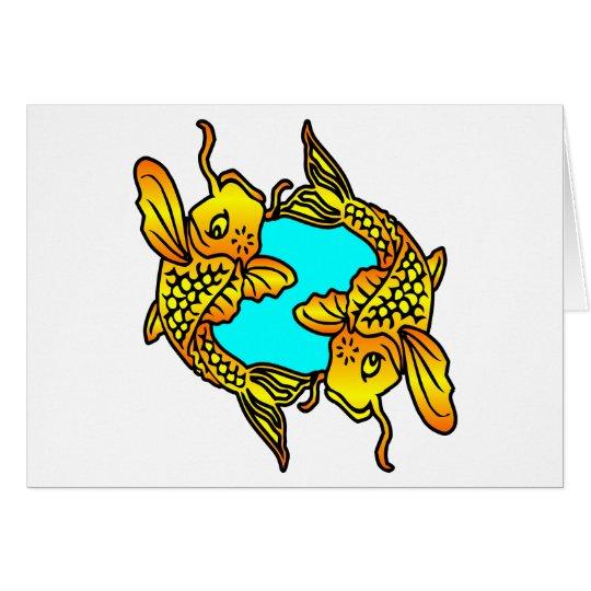 White 2 Traditional Koi Fish Tattoo Card