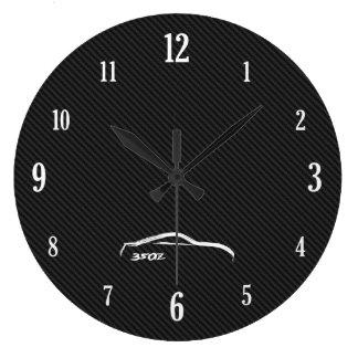 White 350Z Brushstroke Logo Large Clock