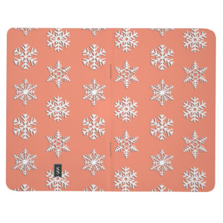 White 3-d snowflakes, Customizable Background Journal