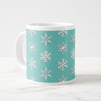 White 3-d snowflakes, Customizable Background Large Coffee Mug
