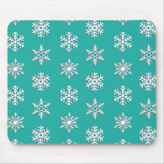 White 3-d snowflakes, Customizable Background Mouse Pad