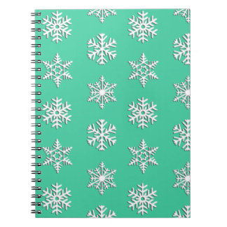 White 3-d snowflakes, Customizable Background Notebook