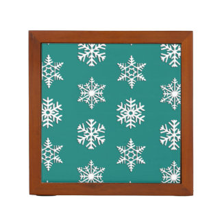 White 3-d snowflakes, Customizable Background Pencil Holder