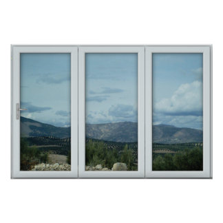 White 3 Pane Window Illusion Country and Mountains Poster