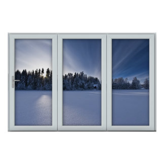 White 3 Pane Window Illusion Winter Scene Poster