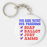 White 4 Boxes Protect Freedoms Keychain