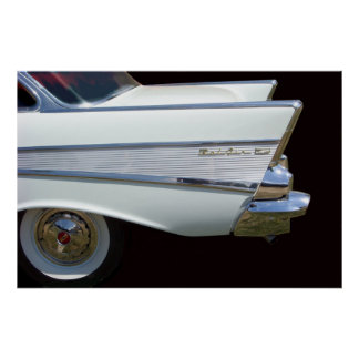 White 57 Chevy Fins Poster