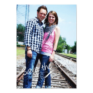 White 5x7 Photo Save the Date Wedding Cards