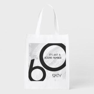 White 60 Decade Birthday Grocery Bag