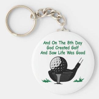 White 8Th Day Created Golf Basic Round Button Keychain