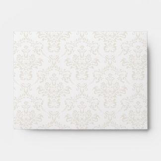 White A6 Damask Envelopes