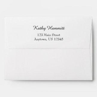 White A7 5x7 Back Flap Return Address Envelopes