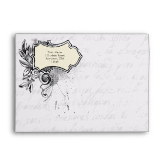 White A7 Vintage Script Envelopes