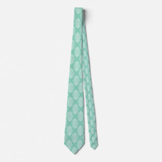 White Abstract Lace Teardrop On Mint-green Neck Tie