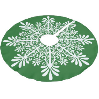White Abstract Snowflake Over Green Backround Brushed Polyester Tree Skirt