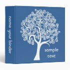 White Abstract Tree 3 Ring Binder