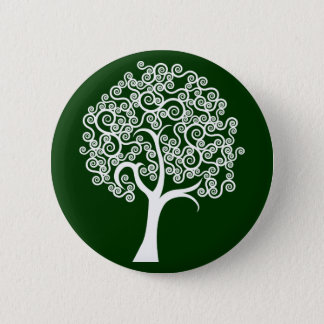 White Abstract Tree Button