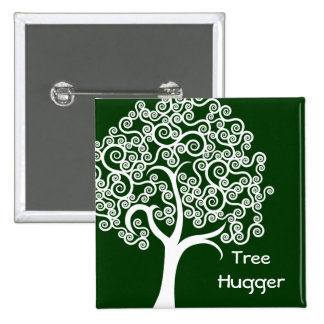 White Abstract Tree 2 Inch Square Button