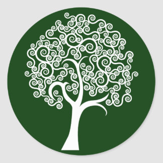 White Abstract Tree Classic Round Sticker