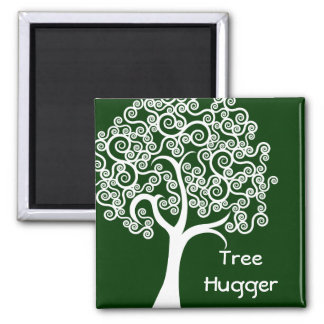 White Abstract Tree Magnet