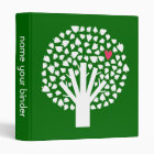 White Abstract Tree with Pink Heart 3 Ring Binder