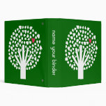 White Abstract Tree with Pink Heart Vinyl Binders