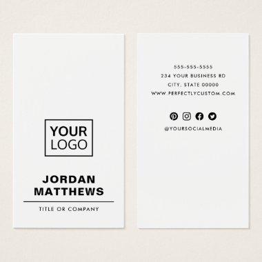 White add logo social media vertical business card