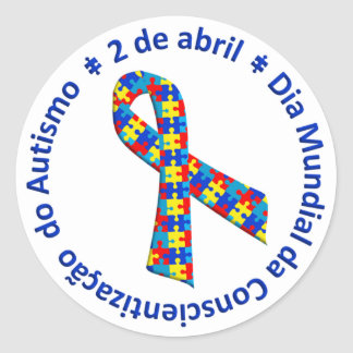 White adhesive Awareness of the Autismo Classic Round Sticker