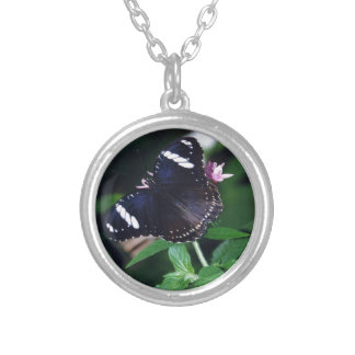 White Admiral Butterfly Round Pendant Necklace