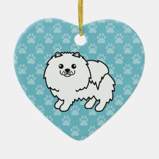 White Adorable Fluffy Pomeranian Cartoon Design Ceramic Ornament