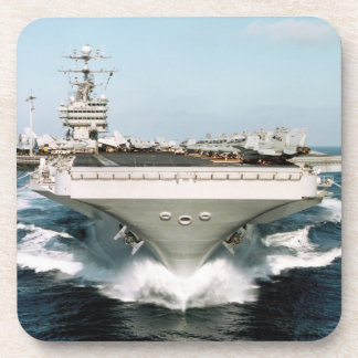 White Aircraft Carrier Cork Coasters