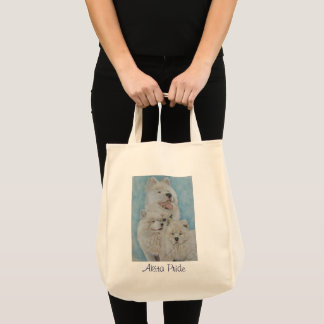 white akita dog portrait original realist art tote bag