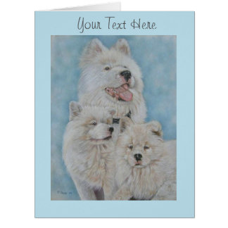 white akita long coat dog portrait original art card