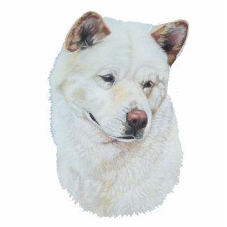 White akita realist dog portrait art photo sculpture button