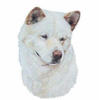White akita realist dog portrait art photo sculpture magnet