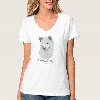 White akita realist dog portrait art T-Shirt