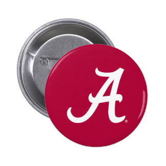 "White Alabama ""A"" 2 Inch Round Button"