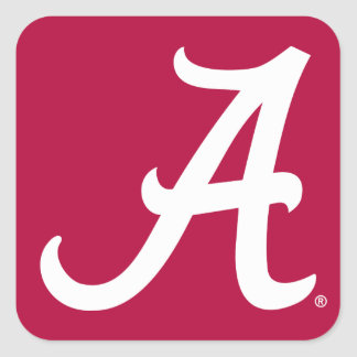 White Alabama A Square Sticker