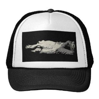 white albino alligator graphic bw head body mesh hat